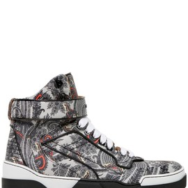 GIVENCHY - TYSON PAISLEY LEATHER HIGH TOP SNEAKERS