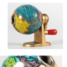 KUM - 1949 KUM, West Germany, Desk Mounted Tin Litho Globe Pencil Sharpener