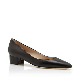 Manolo Blahnik - LISTONY - Black Leather Block Heel Pumps