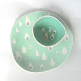 CeramicaBotanica - Dessert plate Mint Raindrops- made to order