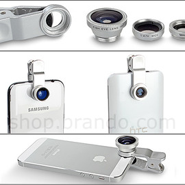 brando - Portable Clip-On Mobile Phone Camera Lens (Wide Angle + Marco + Fisheye Lens)