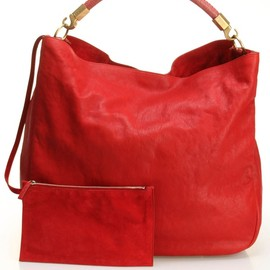 YVES SAINT-LAURENT - Large Roady Hobo Leather Handbag In Red