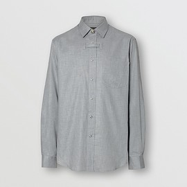 BURBERRY - Monogram Button Cotton Shirt