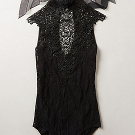 Anthropologie - Hanky Panky Venetian Sexy Black Lace Bodysuit