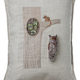Coral and Tusk - owl in tree pocket pillow