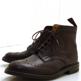 Tricker's - Espresso Burnished Stow Brogue Boot - Dainite