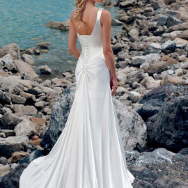 Charming Natural Waist Satin Long Sleeveless One Shoulder Wedding Dress
