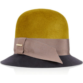 BURBERRY PRORSUM - Grosgrain-trimmed rabbit-felt cloche hat