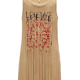LOEWE - Long Tank Top Anagram Fringes Beige front