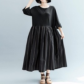 black womens dress - Cotton dress in black, black womens dress, round collar maxi dress