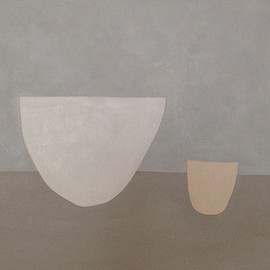 alessandra taccia - white bowl, nude cup acrylic on board 60x55 cm 2016 private collection