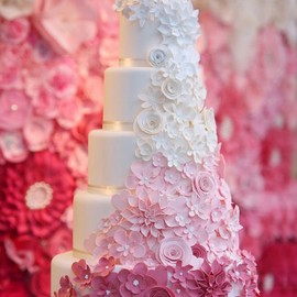 Cascading Pink Ombre Flowers on Wedding Cake