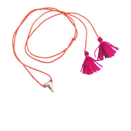 Dezso by SARA BELTRAN - PETITE SHARK TOOTH MEXICAN TASSEL NECKLACE (Silver) - Style #3N313
