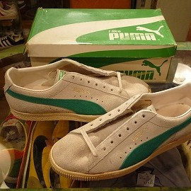 "PUMA - 「<used>80's PUMA PUMA(SUEDE) natural/kellygreen""made in YUGOSLAVIA"" W/BOX size:UK8(26.5-27cm) 28800yen」完売"