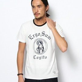 AZUL by moussy - AZUL by moussy MENS(アズールバイマウジー メンズ)のマリアクレリック半袖CNT(Tシャツ・カットソー)|ネイビー