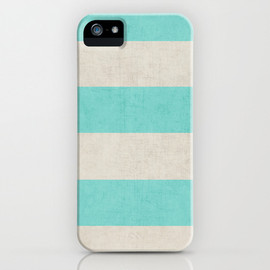 Society6 - vintage teal stripes iPhone & iPod Case