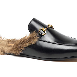 GUCCI - FW2015 Fur-lined leather slippers