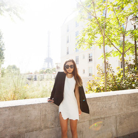 "(Costume National blazer and Mary Jane heels, Friend of Mine leather ""Iman"" dress, Céline Audrey sunglasses)"