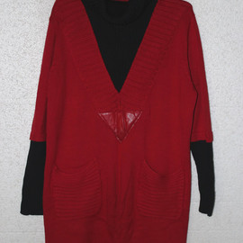 Dress It Up - Red cotton high collar long loose coat sweater dress
