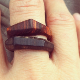 Set of Modern Geometric Stacking Wood Rings