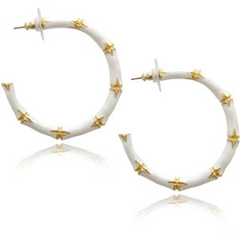 Kenneth Jay Lane - White Enamel Medium Bamboo Hoops