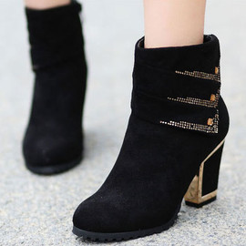 shoes - Image of [grxjy5190215]Fashion Rhinestone Contrast Color Block High Heel Sweet Zipper Ankle