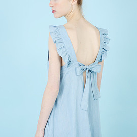 THE WHITEPEPPER - Ribbon Tie Back Midi Dress Blue Denim