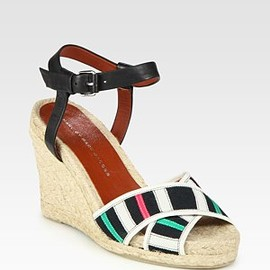 MARC BY MARC JACOBS - Leather and Ribbon Espadrille Wedge Sandals