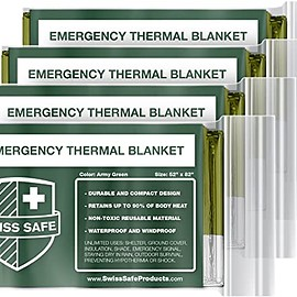 Swiss Safe - Emergency Mylar Thermal Blankets (4-Pack) + Bonus Signature Gold Foil~