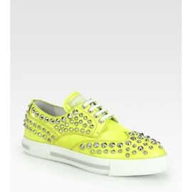 PRADA - Prada Studded Patent Leather Lace-Up Sneakers