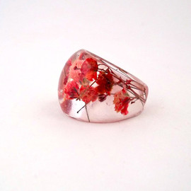 SpottedDogAsheville - Red Resin Ring. Pressed Flower Resin Ring.