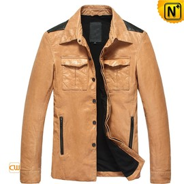 CWMALLS - Men's Lambskin Button-up Leather Jacket CW850122