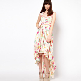 sexy print swallow tail chiffon Irregular dress