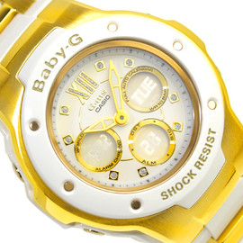Casio G-SHOCK - baby G foreign countries モデルアナデジ watch white inversion liquid crystal gold X white composite belt MSG-300G-7BDR