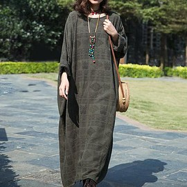 Plus size robes - Dark green cotton maxi dress, longsleeve dress, Loose Fitting dresses for women