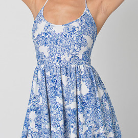 American Apparel - Floral Print Nylon Tricot Figure Skater Dress