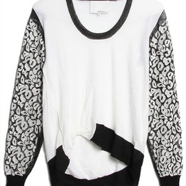3.1 Phillip Lim - leopard embroidered sleeve u-neck pullover