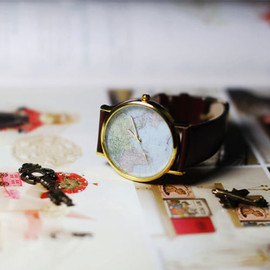 Retro Fresh World Map Print Watch for Lovers