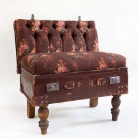 Recreate - Suitcase Chair, Floral Linen & Leather
