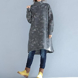 Dresses - Cotton high collar loose fitting Long dress Women bottoming dress in gray/ coffee color
