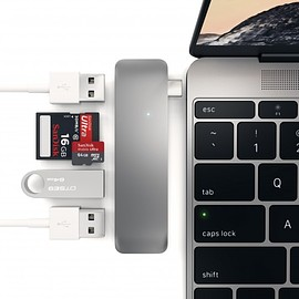 Satechi - Type-C USB 3.0 3 in 1 Combo Hub - 2-Port USB3.0 Hub, Cards All in One for Apple New Macbook