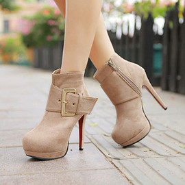Sexy Elegant Platform Zip Pure Color Ankle Stiletto High-heeled Booties