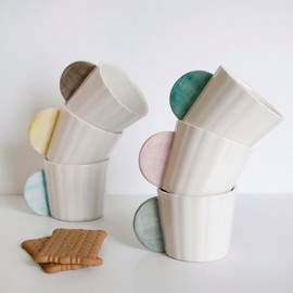 viruset - Ceramic Coffee Cups Set of 6 in different colors: pink, mint, gray, yellow, black and blue