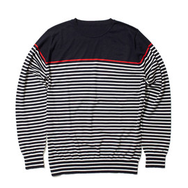 uniform experiment - MILANO COTTON L/S BORDER CREW NECK KNIT