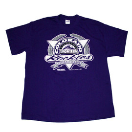 VINTAGE - Vintage 1991 Colorado Rockies National League Purple Shirt Made in USA Mens Size Large