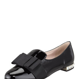 miu miu - Patent Leather Bow Loafer, Black