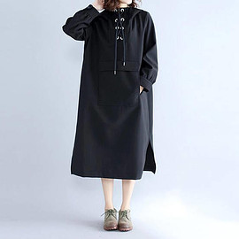 Hooded dress - Women Loose black Cotton Long Hooded dress black Bottoming dress
