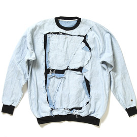 BLESS N°09 - Crash Denim Patch Sweat Shirt
