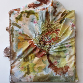 Maria Britton - Skim, 2013, acrylic on hand sewn and stretched floral bed sheet