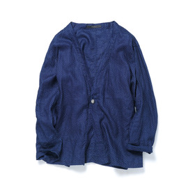 SOPHNET. - CONCHO ONE BUTTON CARDIGAN/INDIGO DOT